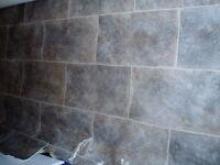 Brown/grey stone effect cushion floor lino