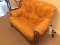 3 piece gold/yellow leather sofa with solid pinewood frame + coffee table - used, all offers welcome