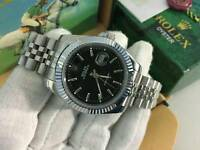New Swiss Men's Rolex Oyster Datejust Perpetual Automatic Watch, Black Dial