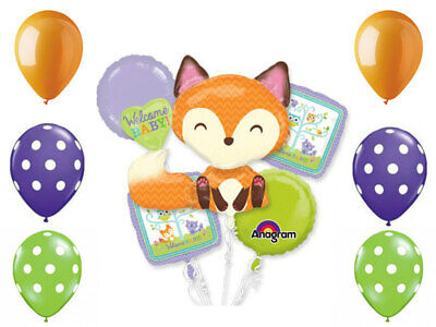 Woodland Fox Welcome Baby 11pc Balloon Bouquet Supplies Decorations Baby - Woodland Baby Shower Decorations