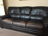 Brown worn look leather 2&3 seater sofas