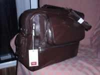 Travel bag, new, by Cotton Traders. Brown leather patchwork, lined