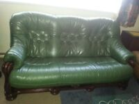 2&3 seats green leather sofas