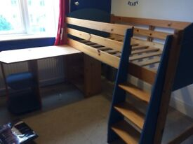 Mid-Sleeper single bed, blue and pine with desk.