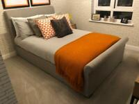 Grey Material Ottoman Small Double Bed