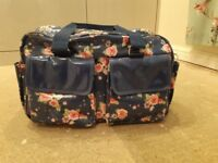 Blue floral oilcloth baby changing bag