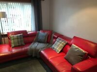 ICONICA STAGE: RIGHT ARM FACING, RED LEATHER, DFS, CORNER SOFA