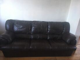 FOR SALE Real leather 3 piece suite