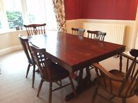 Slate Bed Mahogany Dining & Pool Table with Six Chairs