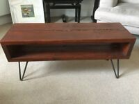 Reclaimed wooden bench with hairpin legs