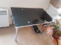 Black Tempered Glass Computer Desk with Shelves