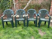 Set Of 4 Green Plastic Garden Chairs With Armrests