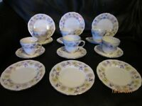 VINTAGE BONE CHINA DUCHESS SPRING DAYS PATTERN 6 X CUPS . SAUCERS AND SIDE PLATES