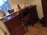 solid mahogany stained pine bedroom furniture