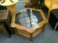 Wood and glass coffee table #33157 £25