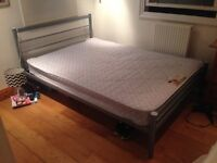 Silver Double Bed Frame & Double Mattress