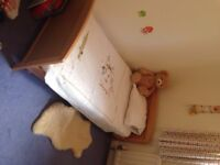 Wooden childrens bed + mattress, duvet, sheets etc