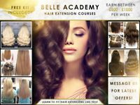 HAIR EXTENSION COURSES. LONDON. ALL INCLUSIVE OF TRAINING, CERTIFICATION & KIT - SALE NOW ON.