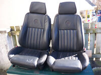 Pair of Alfa Romeo embossed leather front seats.