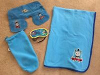 Thomas Travel Pack (Blanket, Blow up pillow, Eye mask all in a fleece drawstring bag)