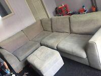 Grey corner sofa and puffet