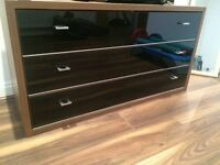 Gorgeous walnut and gloss black chest of drawers