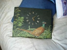 Hand Painted Cock Pheasant on Slate Wallclock