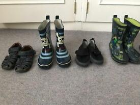 Selection of boys shoes, slippers and wellies
