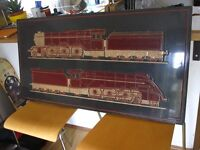 Large wooden carved picture of trains ANTIQUE rare