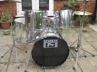 Drums - Session Pro Drum Kit, 100% Complete, Plus Extras, Ready To Play, Possible Local Delivery