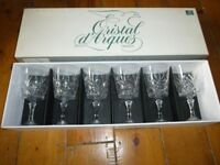 Set of 6 cut glass wine glasses
