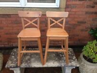 A matching pair pine children's chairs
