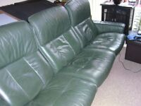 3 Seater Green Leather Recliner Sofa + Recliner / Swivel Armchair With Foot Stool