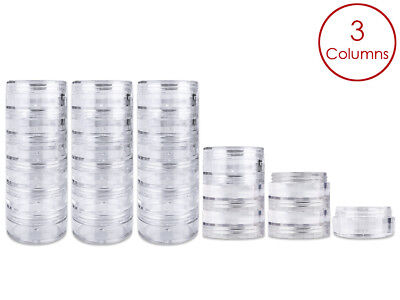 18 Pieces 10G/10ML Acrylic Stackable Clear Round Container Jar with Screw Cap