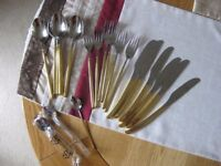Gold plated cutlery, set for 6, complete