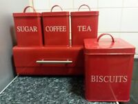 RED 5PC METAL TEA SUGAR COFFEE BISCUITS CANISTERS/JAR BREAD BIN KITCHEN SET