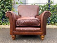 Gorgeous Tetrad Degas Leather Tan Brown Armchair & Cushion– Finest Quality – Super Condition