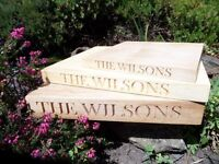 personalised wedding gifts for Bride & Groom,Best man,Bridesmaids. Scottish engraved hardwood gifts.
