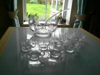 Large Crystal Glass engraved Punch Bowl with 10 matching engraved glass cups and a ladel