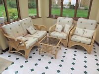 Bamboo Conservatory Furniture set - 2 seater settee, 2 armchairs and a glass top table