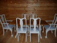 Farmhouse/Shabby Chic Oak Table & Chairs Annie Sloan Old White Cath Kidston