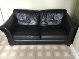 M & S Black Leather Sofa Bed