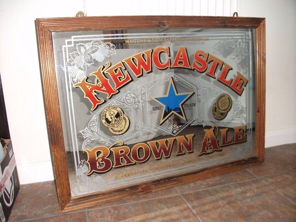 Large Vintage Newcastle Brown Ale Pub Mirror