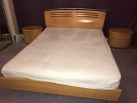 King size bed frame including mattress and 2 bedside drawers.