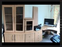 Seven piece computer station with class cabinets