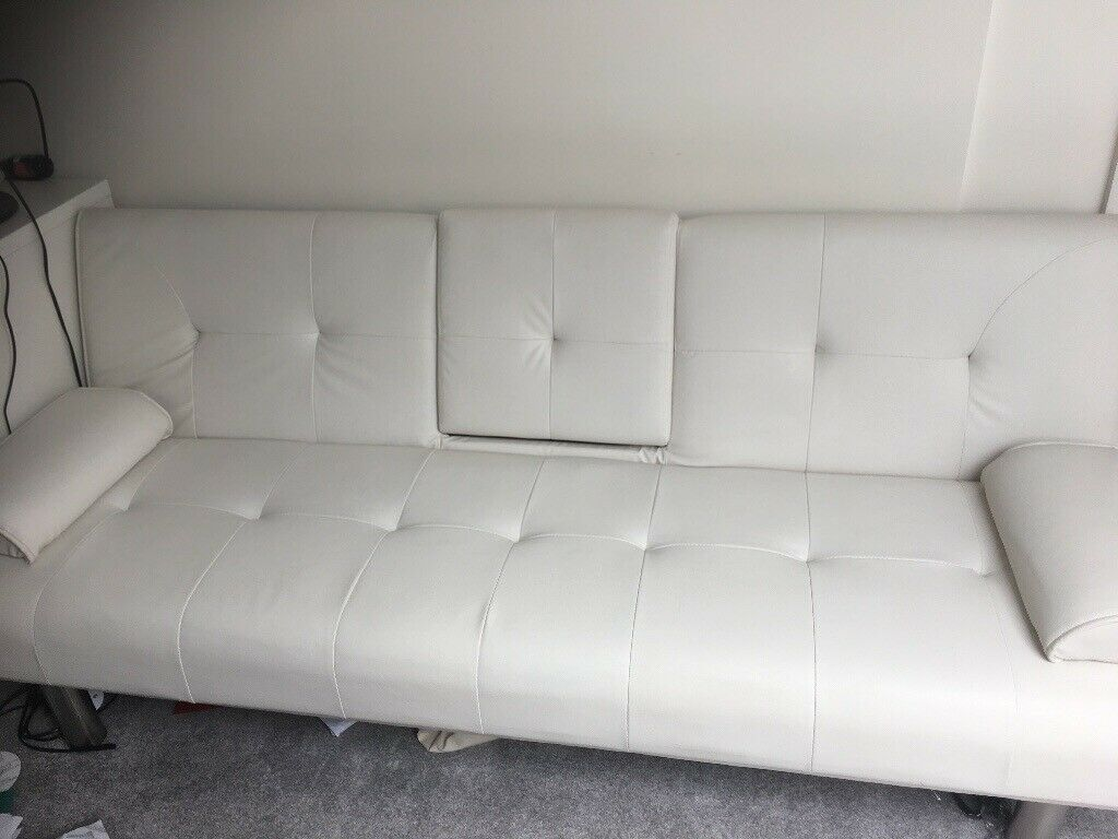 White Faux Leather Sofa Bed In