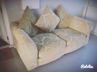 Pale Green & Cream Sofa & Footstall FREE!!!!