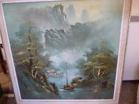 Chinese Mountain & Lake Oil Painting