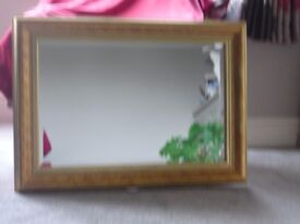 LARGE RECTANGULAR MIRROR WITH DEEP GOLD FRAME FOR SALE