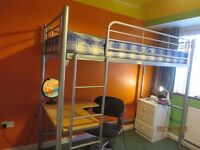 Single high bed with desk; excellent condition; metal bed with mattress